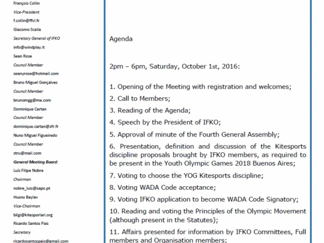 5th AGM Agenda October 1st 2016