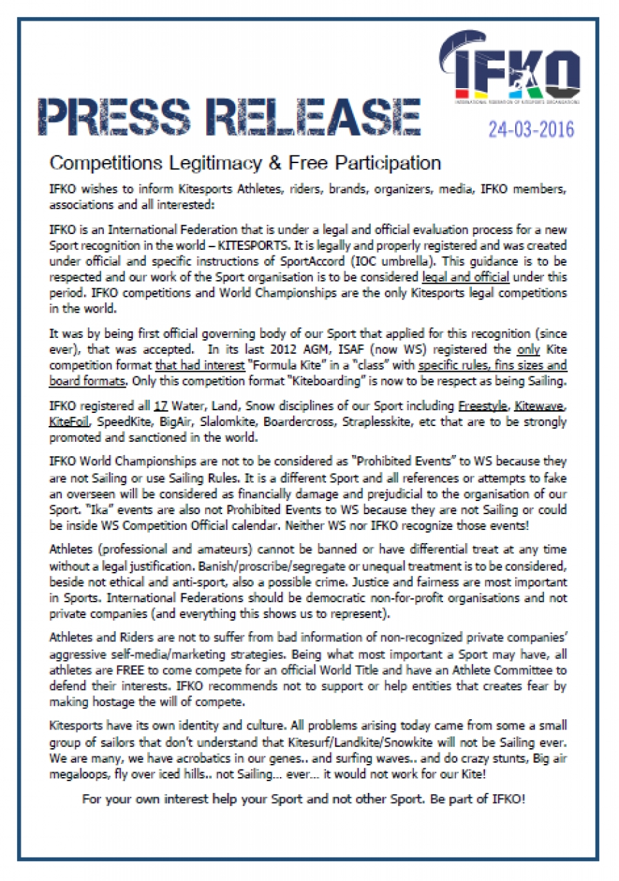 Competitions Legitimacy & Free Participation 24-3-2017