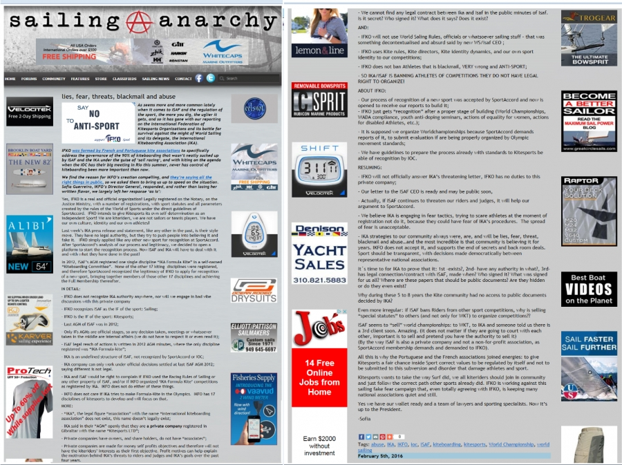 "Sailing Anarchy.com""lies, fear, threats, blackmail and abuse"""