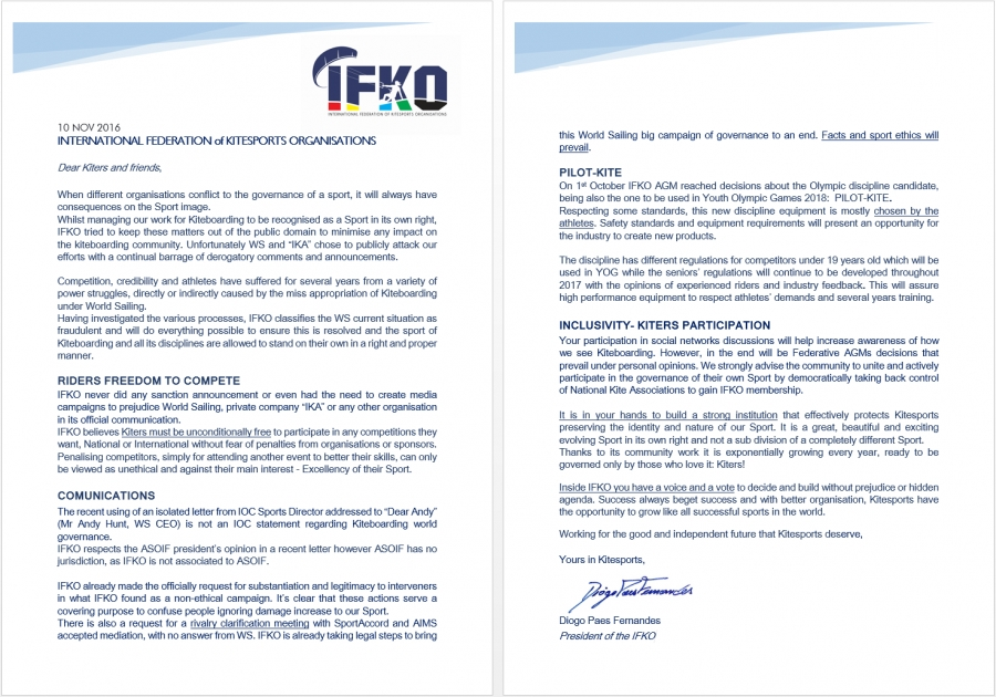 Ifko International Federation Of Kitesports Organizations