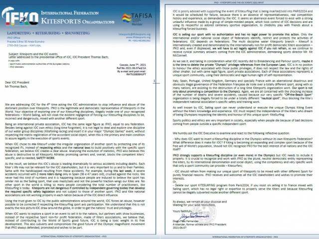 IFKO Letter to IOC 2021-07-06