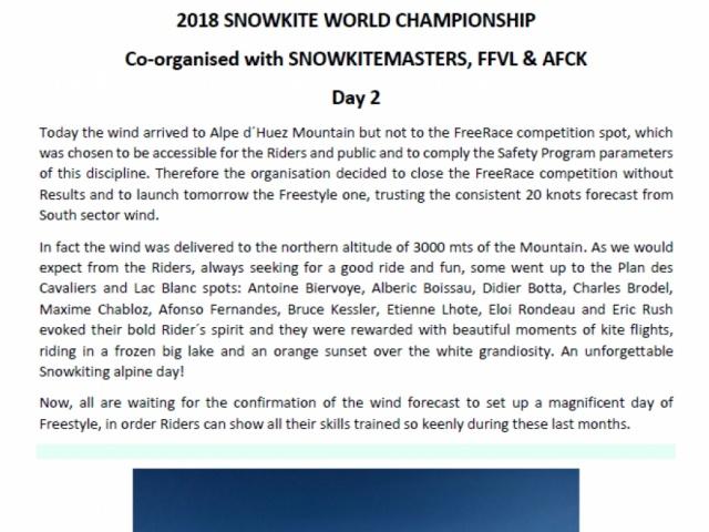 2018 SNOWKITE WORLD CHAMPIONSHIP Day2